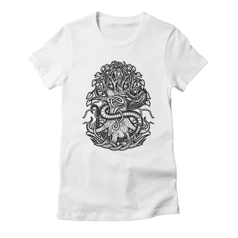 Yggdrasil Ragnarok Women's Fitted T-Shirt by Celtic Hammer Club