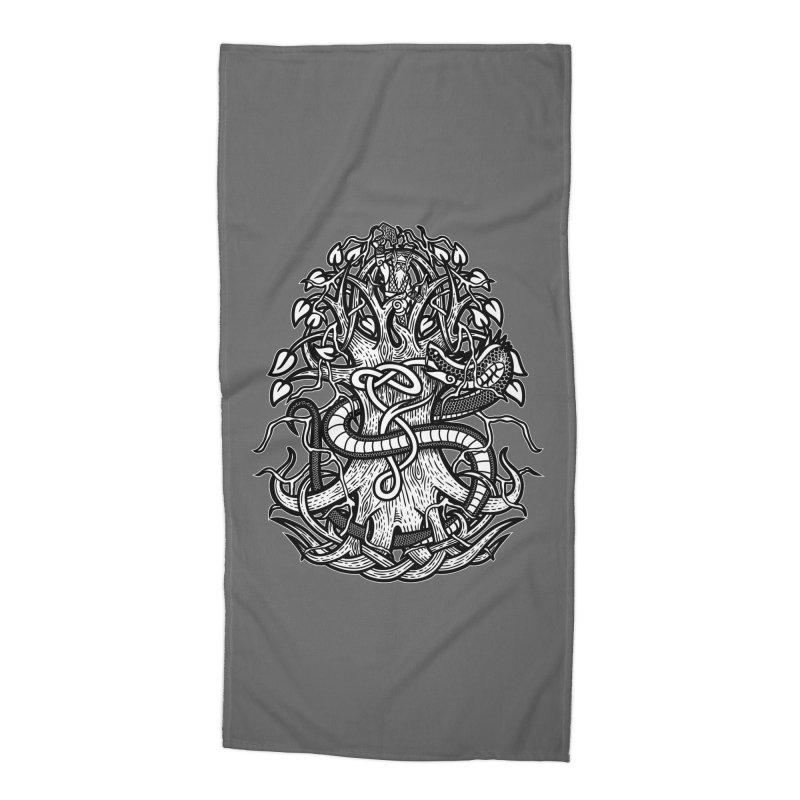 Yggdrasil Ragnarok Accessories Beach Towel by Celtic Hammer Club