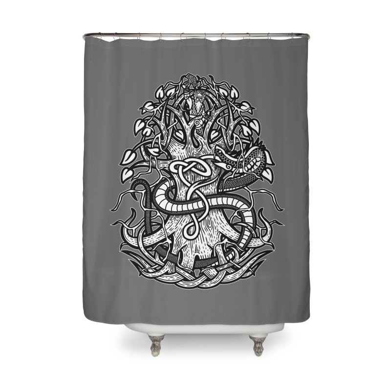 Yggdrasil Ragnarok Home Shower Curtain by Celtic Hammer Club