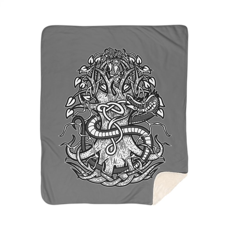 Yggdrasil Ragnarok Home Sherpa Blanket Blanket by Celtic Hammer Club