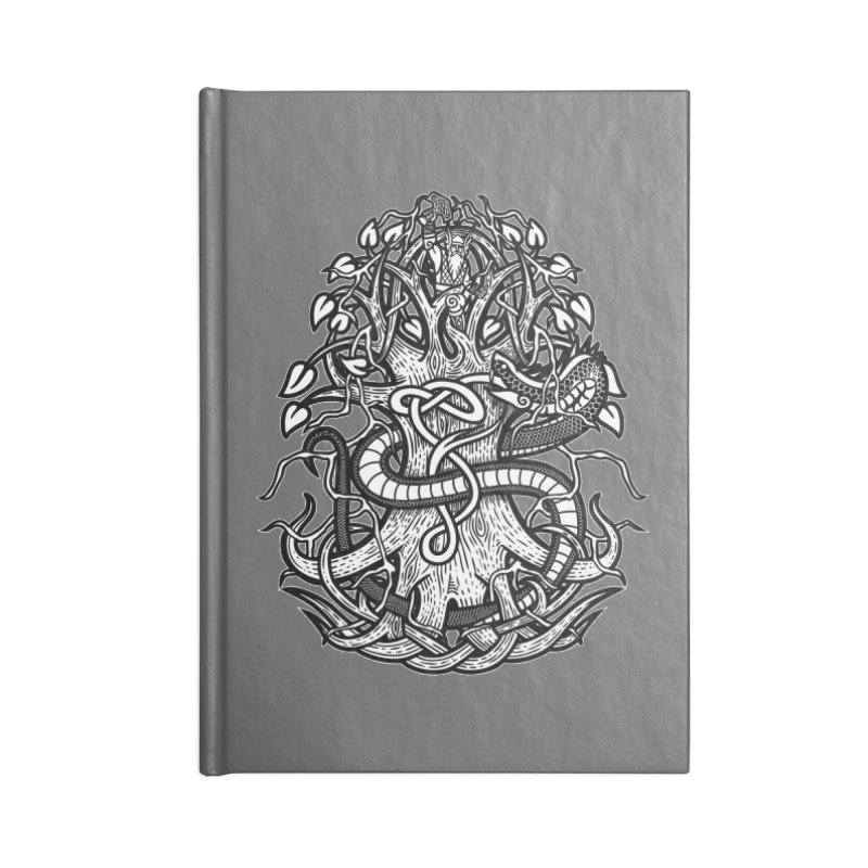 Yggdrasil Ragnarok Accessories Lined Journal Notebook by Celtic Hammer Club