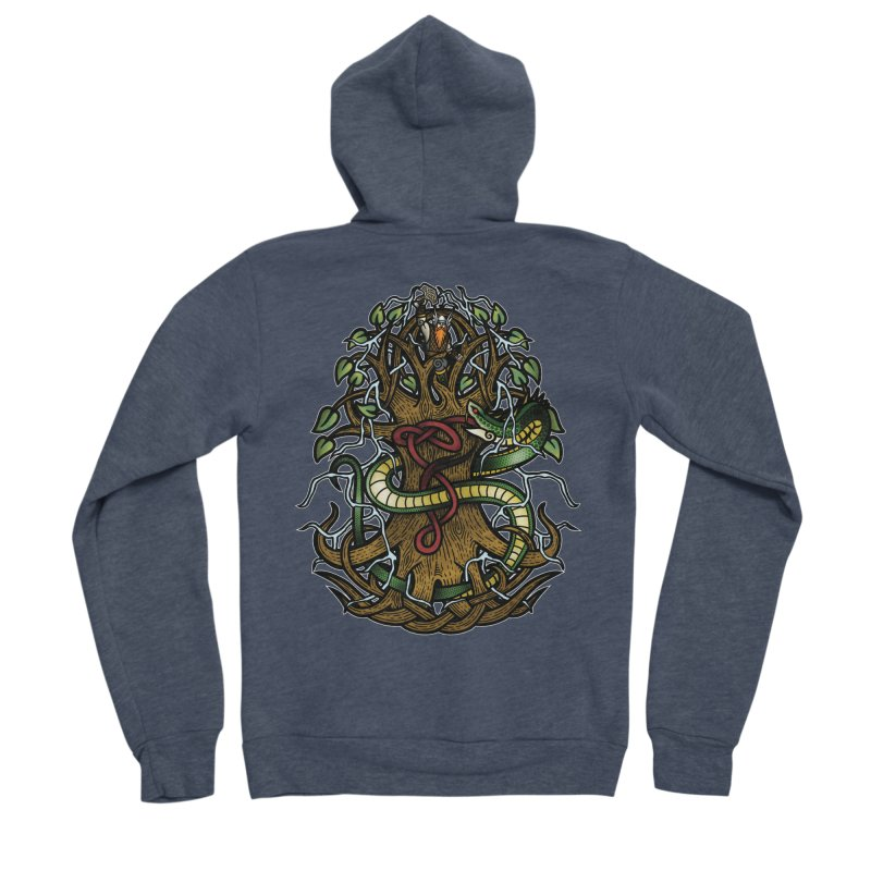 Yggdrasil Ragnarok (Full Color) Men's Sponge Fleece Zip-Up Hoody by Celtic Hammer Club