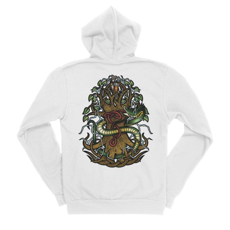Yggdrasil Ragnarok (Full Color) Men's Sponge Fleece Zip-Up Hoody by Celtic Hammer Club