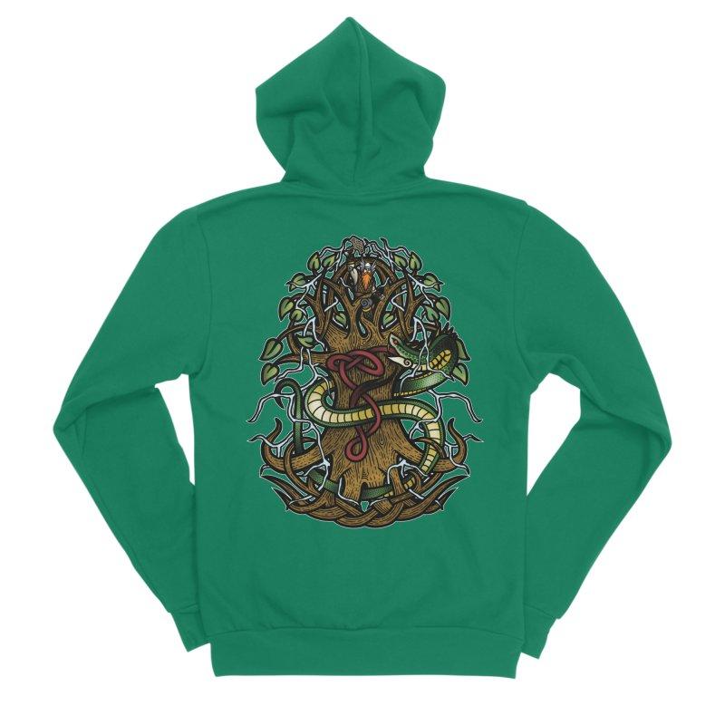 Yggdrasil Ragnarok (Full Color) Women's Sponge Fleece Zip-Up Hoody by Celtic Hammer Club