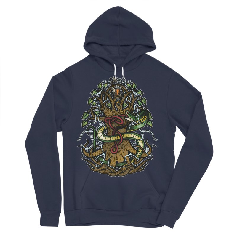 Yggdrasil Ragnarok (Full Color) Men's Sponge Fleece Pullover Hoody by Celtic Hammer Club