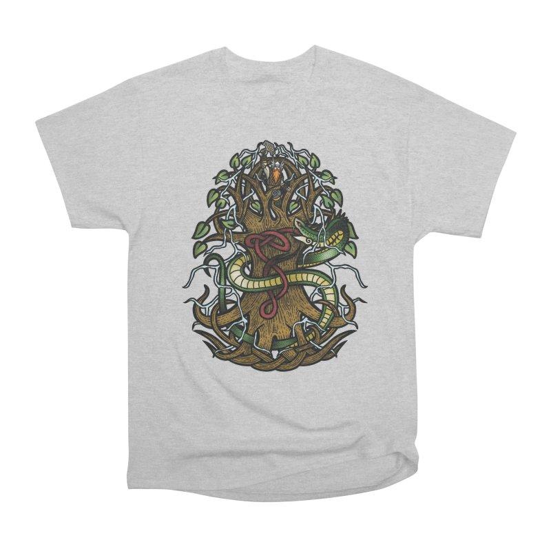 Yggdrasil Ragnarok (Full Color) Women's Heavyweight Unisex T-Shirt by Celtic Hammer Club