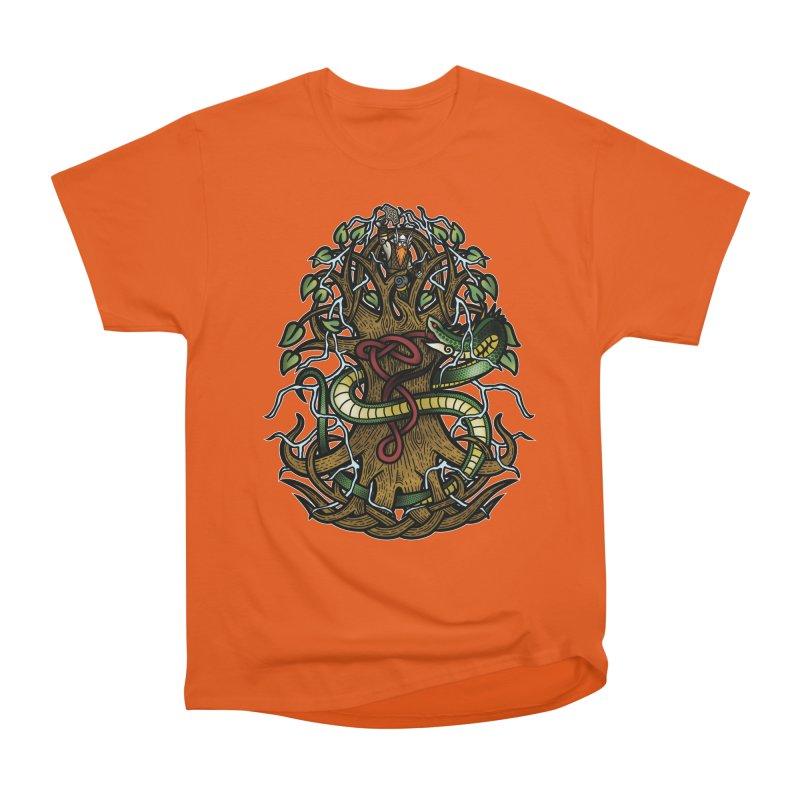 Yggdrasil Ragnarok (Full Color) Men's Heavyweight T-Shirt by Celtic Hammer Club