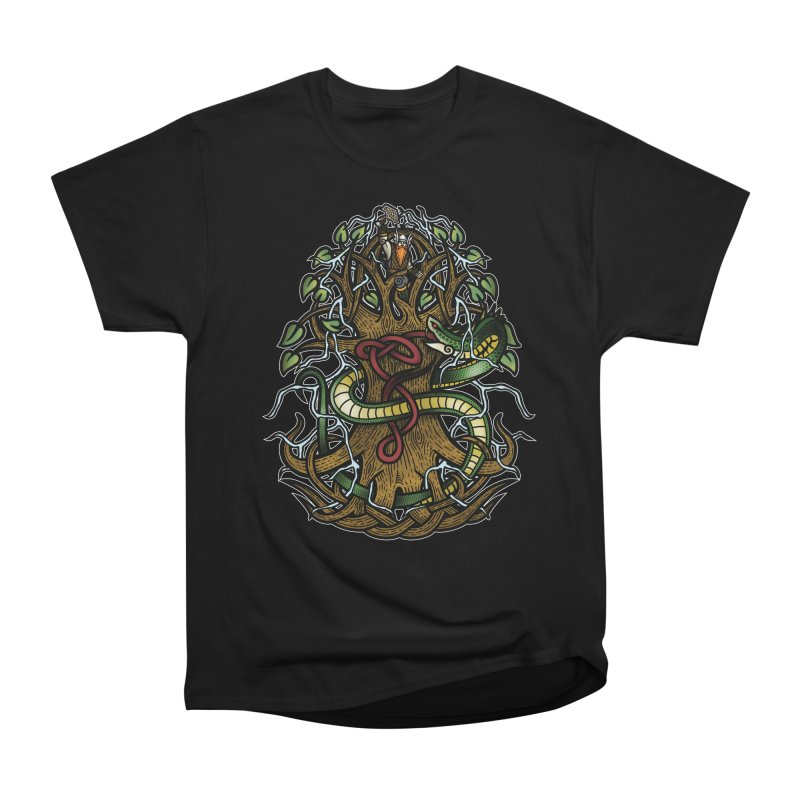 Yggdrasil Ragnarok (Full Color) Women's Heavyweight Unisex T-Shirt by Celtic Hammer Club