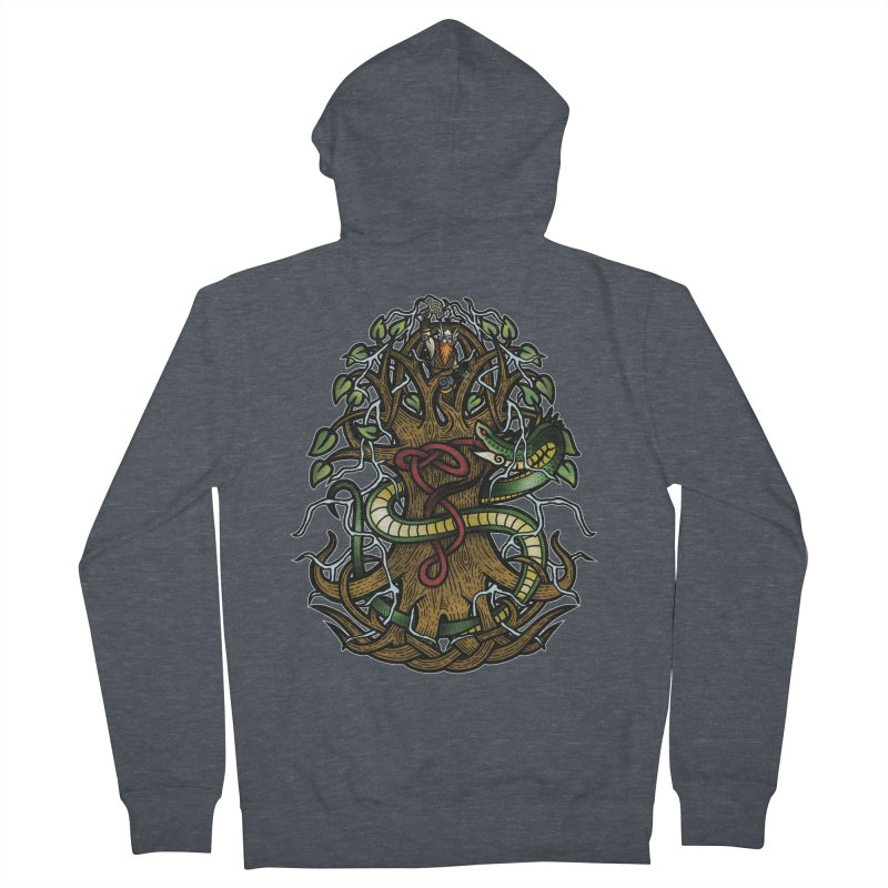 Yggdrasil Ragnarok (Full Color) Men's French Terry Zip-Up Hoody by Celtic Hammer Club