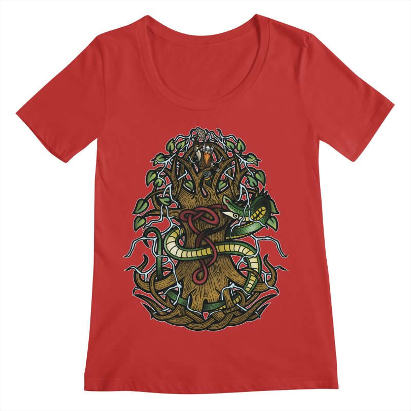 Yggdrasil Ragnarok (Full Color) Women's Regular Scoop Neck by Celtic Hammer Club