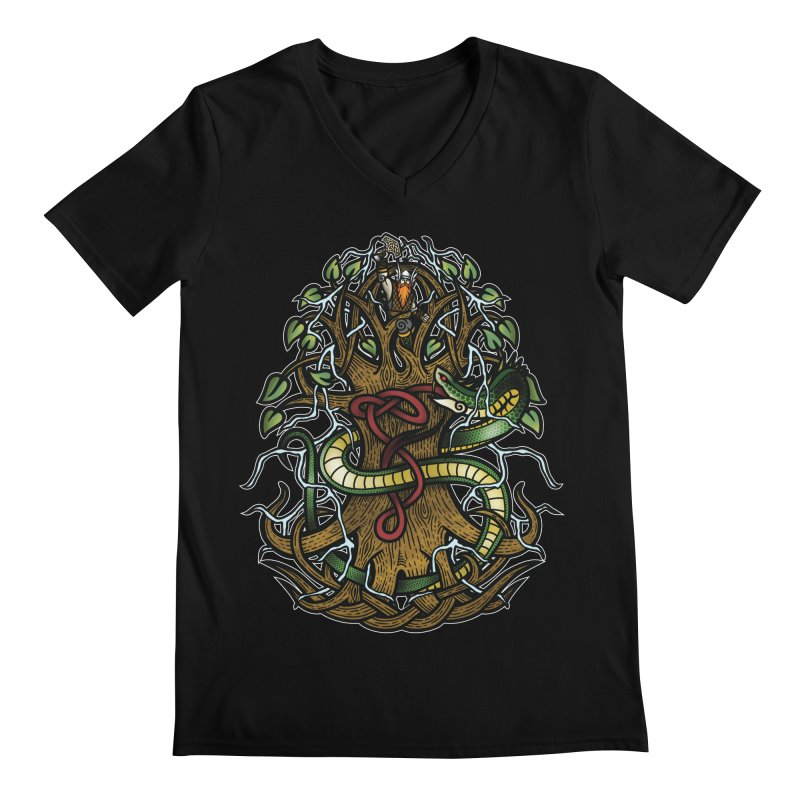 Yggdrasil Ragnarok (Full Color) Men's Regular V-Neck by Celtic Hammer Club