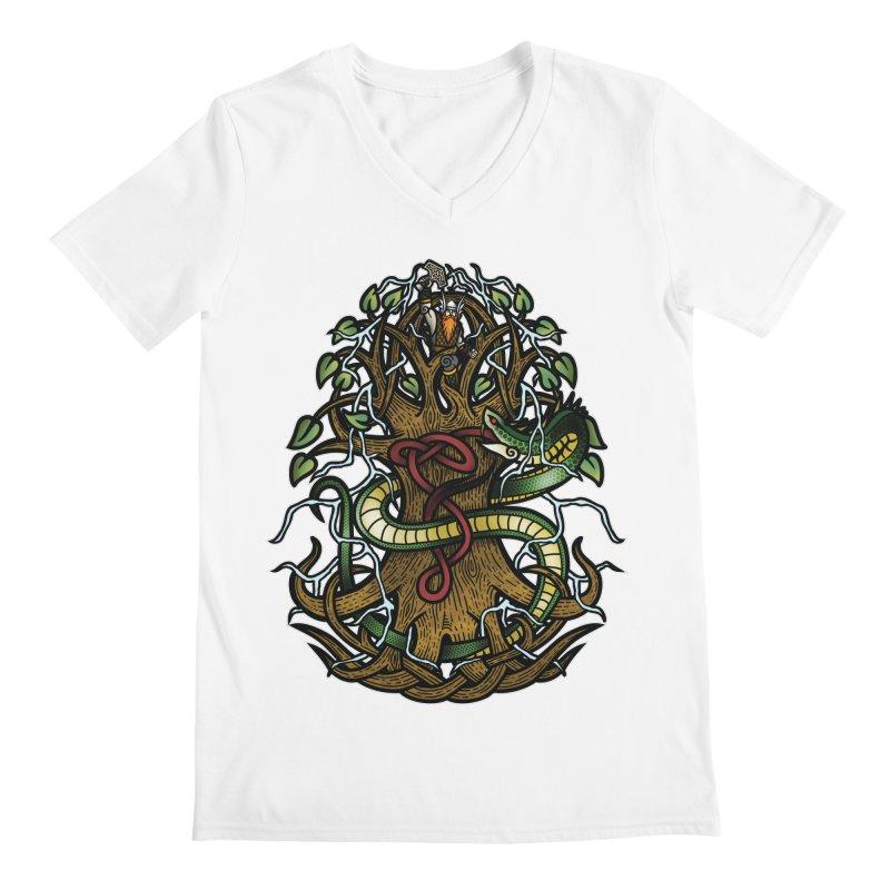 Yggdrasil Ragnarok (Full Color) Men's V-Neck by Celtic Hammer Club