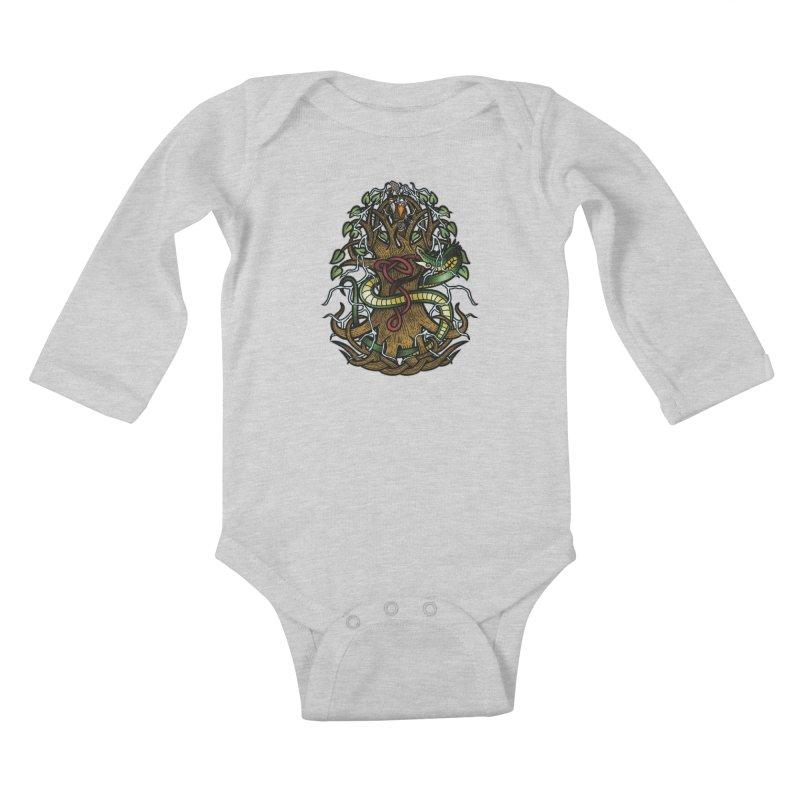 Yggdrasil Ragnarok (Full Color) Kids Baby Longsleeve Bodysuit by Celtic Hammer Club