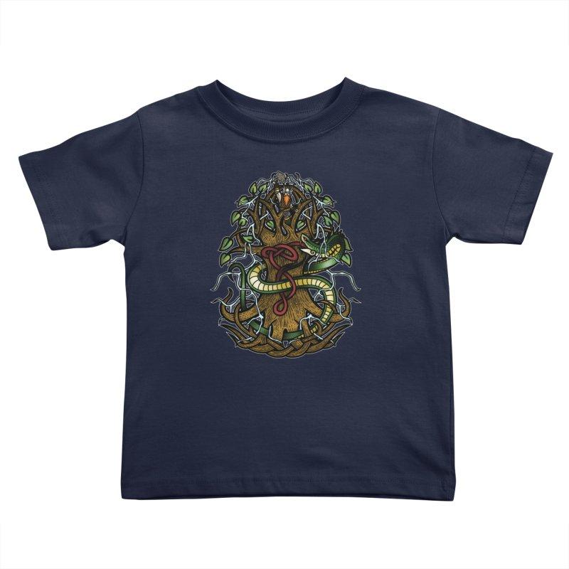 Yggdrasil Ragnarok (Full Color) Kids Toddler T-Shirt by Celtic Hammer Club