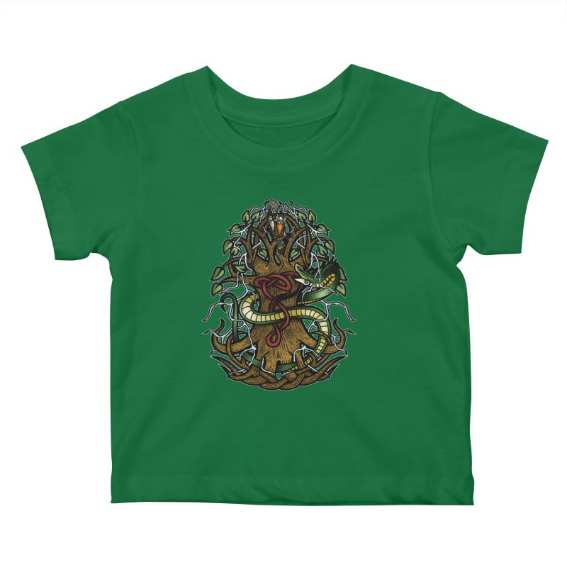 Yggdrasil Ragnarok (Full Color) Kids Baby T-Shirt by Celtic Hammer Club