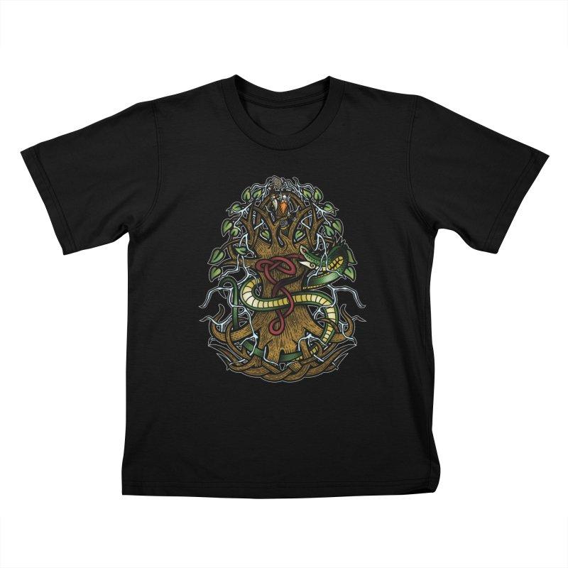 Yggdrasil Ragnarok (Full Color) Kids T-Shirt by Celtic Hammer Club