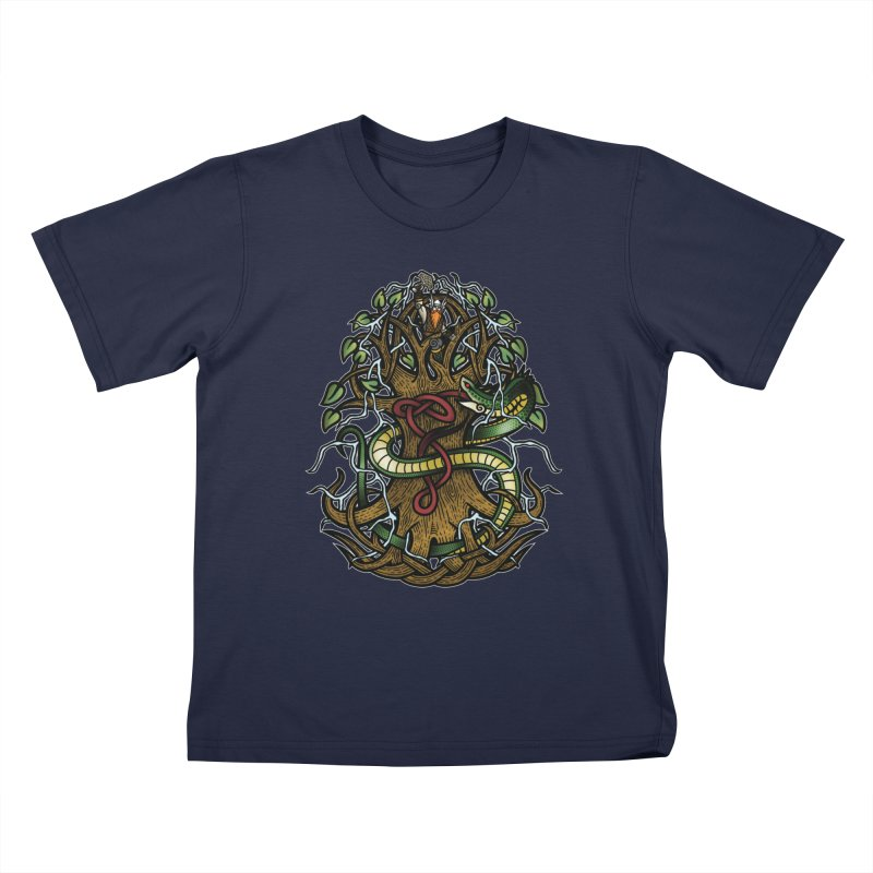 Yggdrasil Ragnarok (Full Color) Kids T-Shirt by Celtic Hammer Club