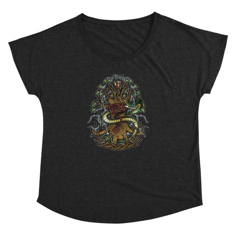 Yggdrasil Ragnarok (Full Color) Women's Dolman Scoop Neck by Celtic Hammer Club