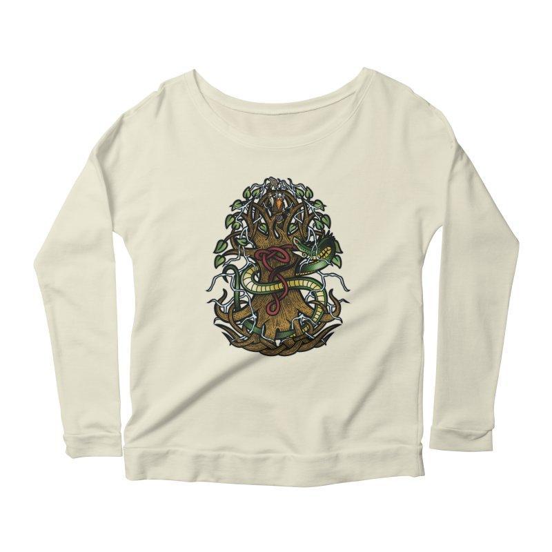 Yggdrasil Ragnarok (Full Color) Women's Scoop Neck Longsleeve T-Shirt by Celtic Hammer Club