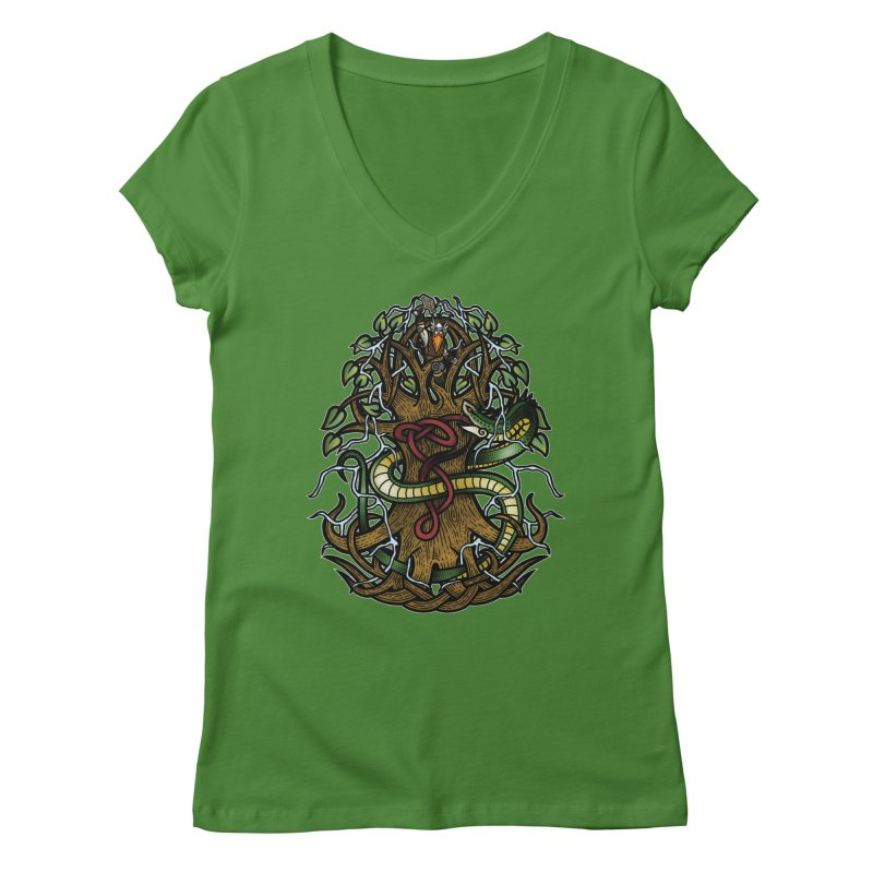 Yggdrasil Ragnarok (Full Color) Women's Regular V-Neck by Celtic Hammer Club