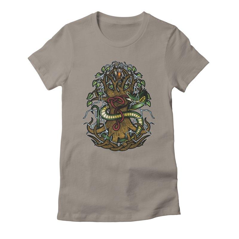 Yggdrasil Ragnarok (Full Color) Women's Fitted T-Shirt by Celtic Hammer Club