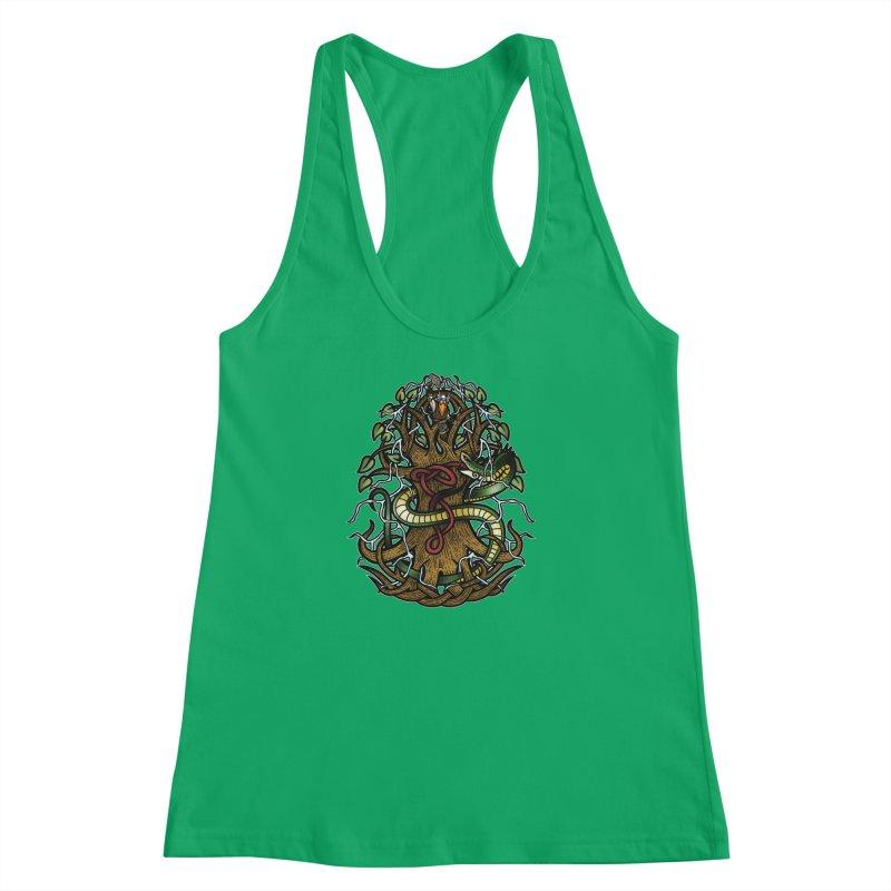 Yggdrasil Ragnarok (Full Color) Women's Racerback Tank by Celtic Hammer Club