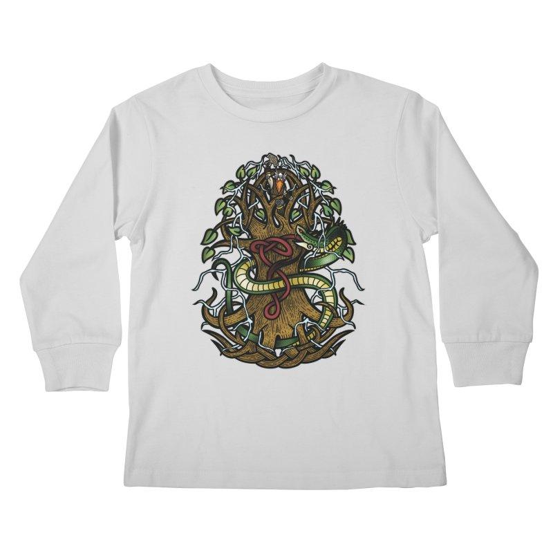 Yggdrasil Ragnarok (Full Color) Kids Longsleeve T-Shirt by Celtic Hammer Club
