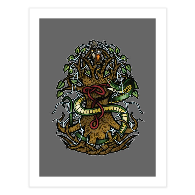Yggdrasil Ragnarok (Full Color) Home Fine Art Print by Celtic Hammer Club