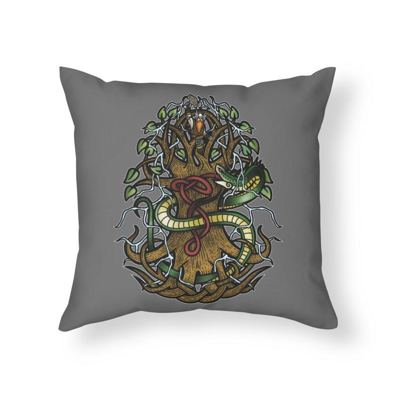 Yggdrasil Ragnarok (Full Color) Home Throw Pillow by Celtic Hammer Club