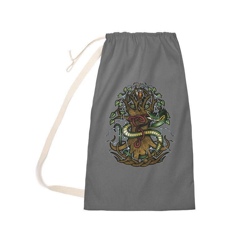 Yggdrasil Ragnarok (Full Color) Accessories Laundry Bag Bag by Celtic Hammer Club