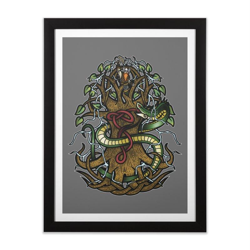 Yggdrasil Ragnarok (Full Color) Home Framed Fine Art Print by Celtic Hammer Club