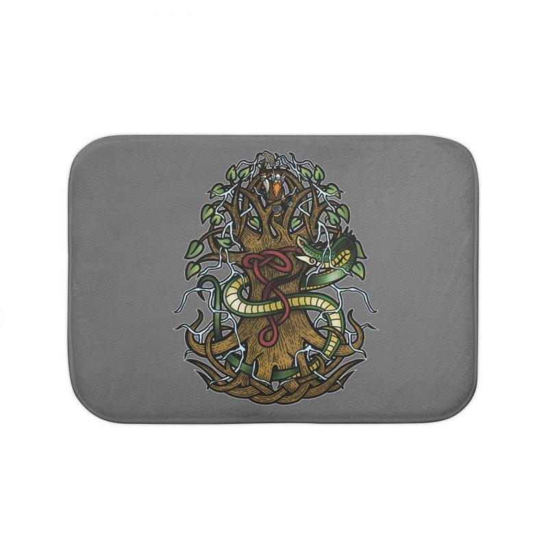 Yggdrasil Ragnarok (Full Color) Home Bath Mat by Celtic Hammer Club