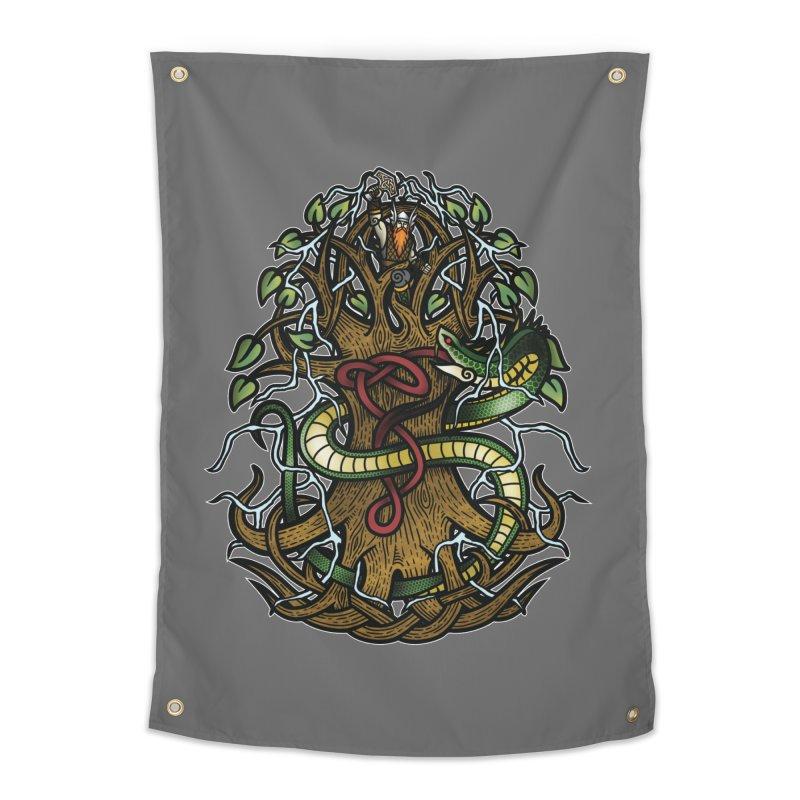 Yggdrasil Ragnarok (Full Color) Home Tapestry by Celtic Hammer Club