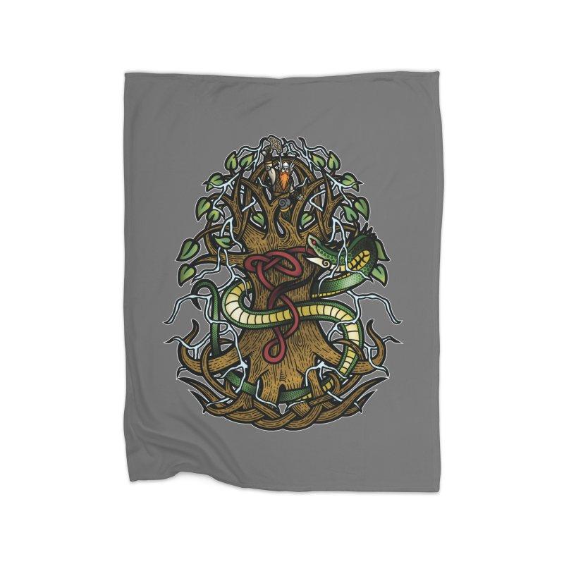 Yggdrasil Ragnarok (Full Color) Home Fleece Blanket Blanket by Celtic Hammer Club