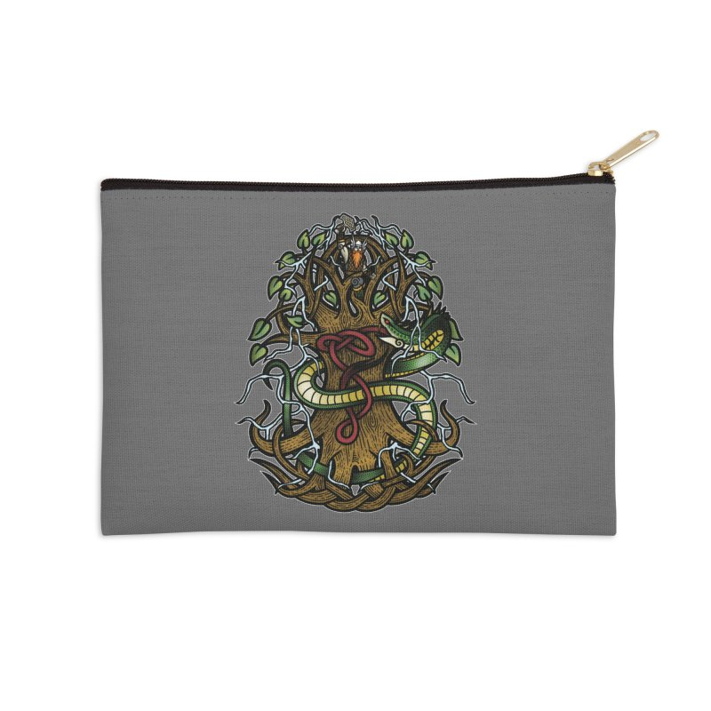 Yggdrasil Ragnarok (Full Color) Accessories Zip Pouch by Celtic Hammer Club