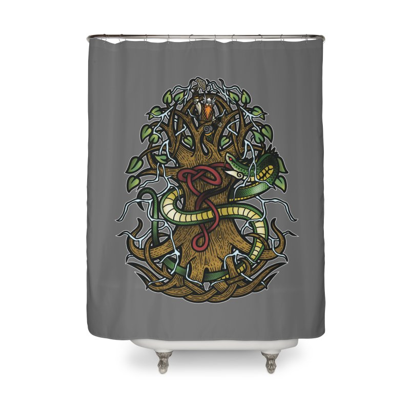 Yggdrasil Ragnarok (Full Color) Home Shower Curtain by Celtic Hammer Club
