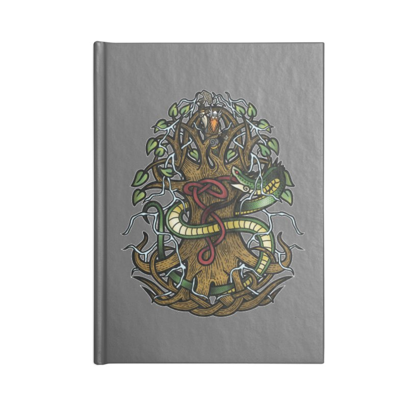 Yggdrasil Ragnarok (Full Color) Accessories Blank Journal Notebook by Celtic Hammer Club