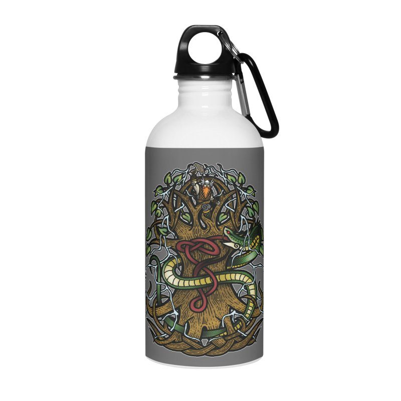 Yggdrasil Ragnarok (Full Color) Accessories Water Bottle by Celtic Hammer Club
