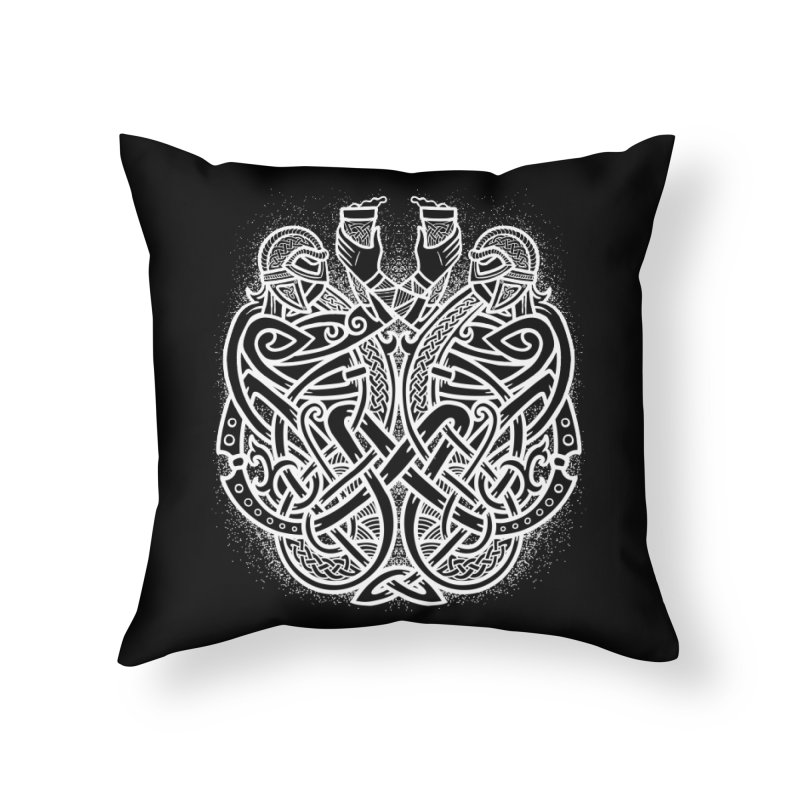 Drink to the Gods Home Throw Pillow by Celtic Hammer Club