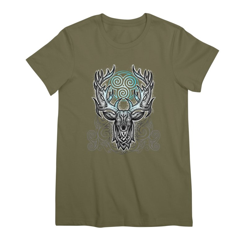 Legend of the White Stag Women's Premium T-Shirt by Celtic Hammer Club