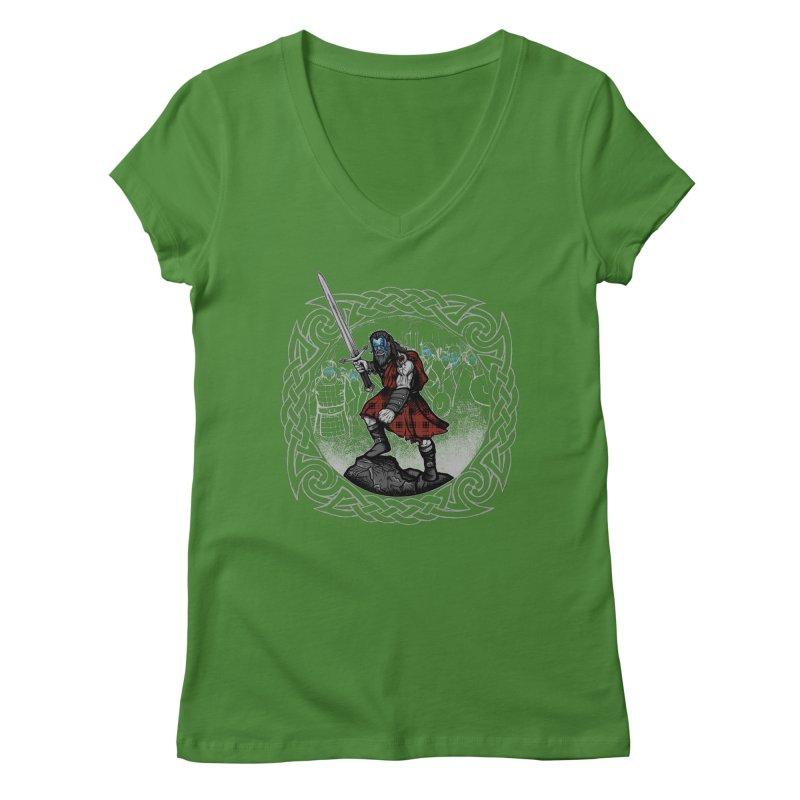 Highlander Charge Women's Regular V-Neck by Celtic Hammer Club