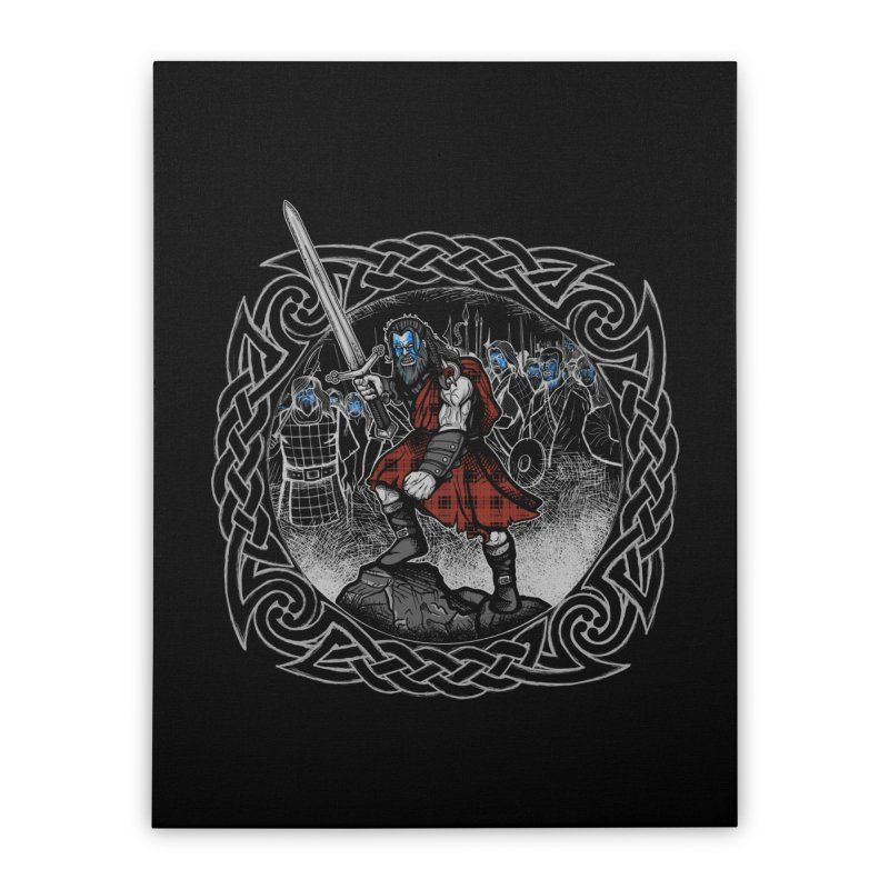 Highlander Charge Home Stretched Canvas by Celtic Hammer Club