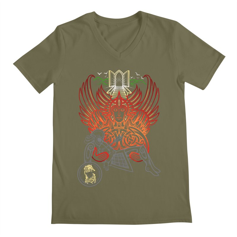 "Valkyrie, ""Chooser of the Slain"" Men's Regular V-Neck by Celtic Hammer Club"