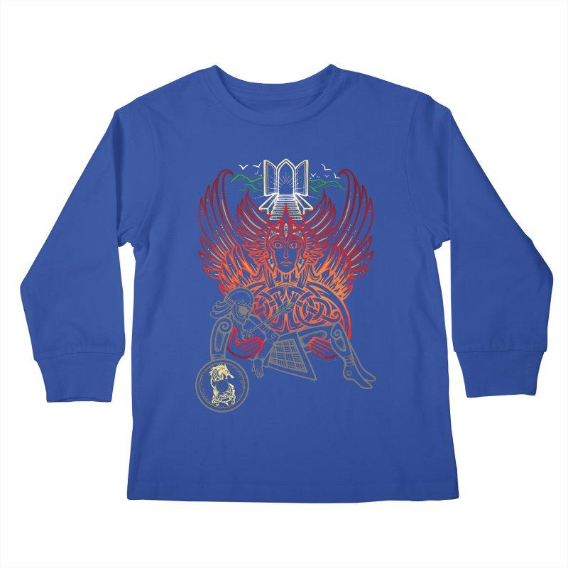 "Valkyrie, ""Chooser of the Slain"" Kids Longsleeve T-Shirt by Celtic Hammer Club"