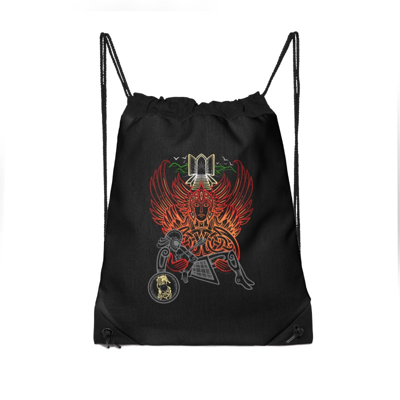 "Valkyrie, ""Chooser of the Slain"" Accessories Drawstring Bag Bag by Celtic Hammer Club"