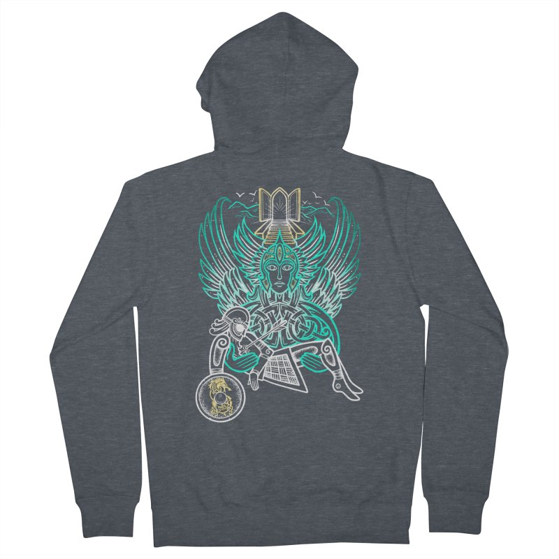 """Valkyrie, """"Chooser of the Slain"""" Men's French Terry Zip-Up Hoody by Celtic Hammer Club"""