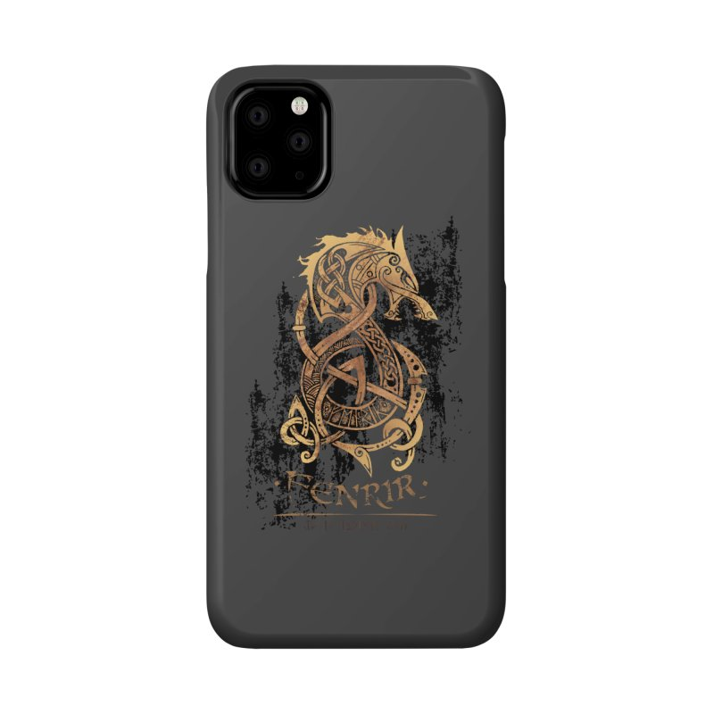 Gold Fenrir Wolf Accessories Phone Case by Celtic Hammer Club