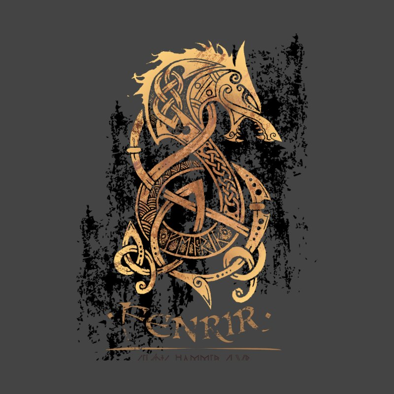 Gold Fenrir Wolf Men's T-Shirt by Celtic Hammer Club