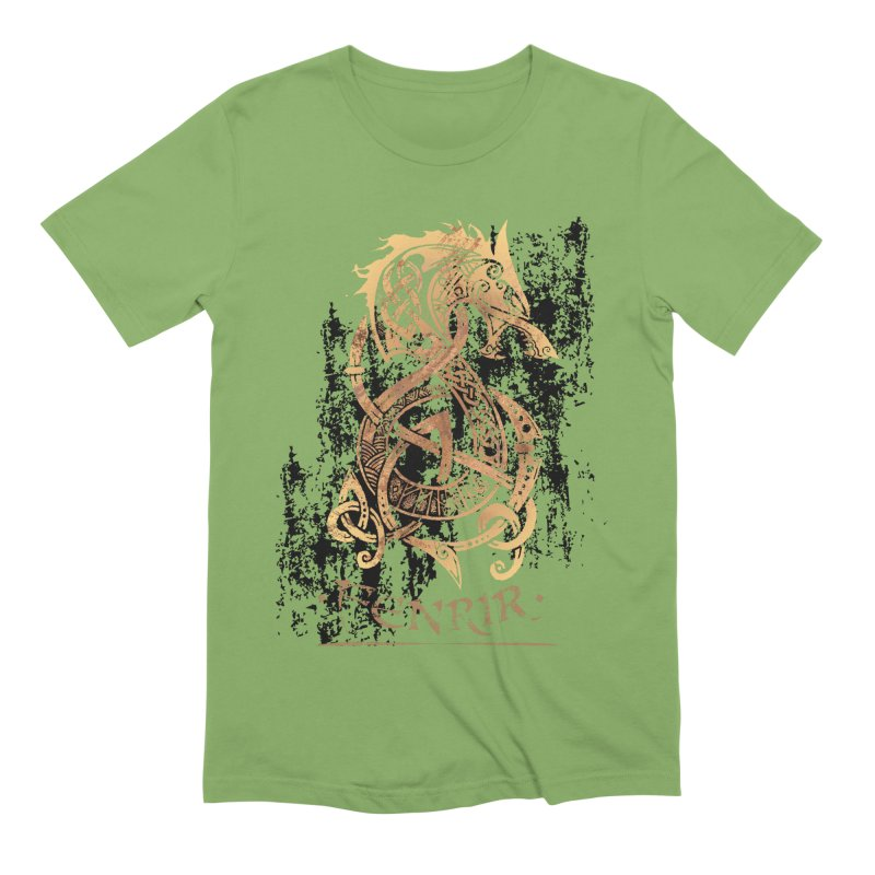 Gold Fenrir Wolf Men's Extra Soft T-Shirt by Celtic Hammer Club