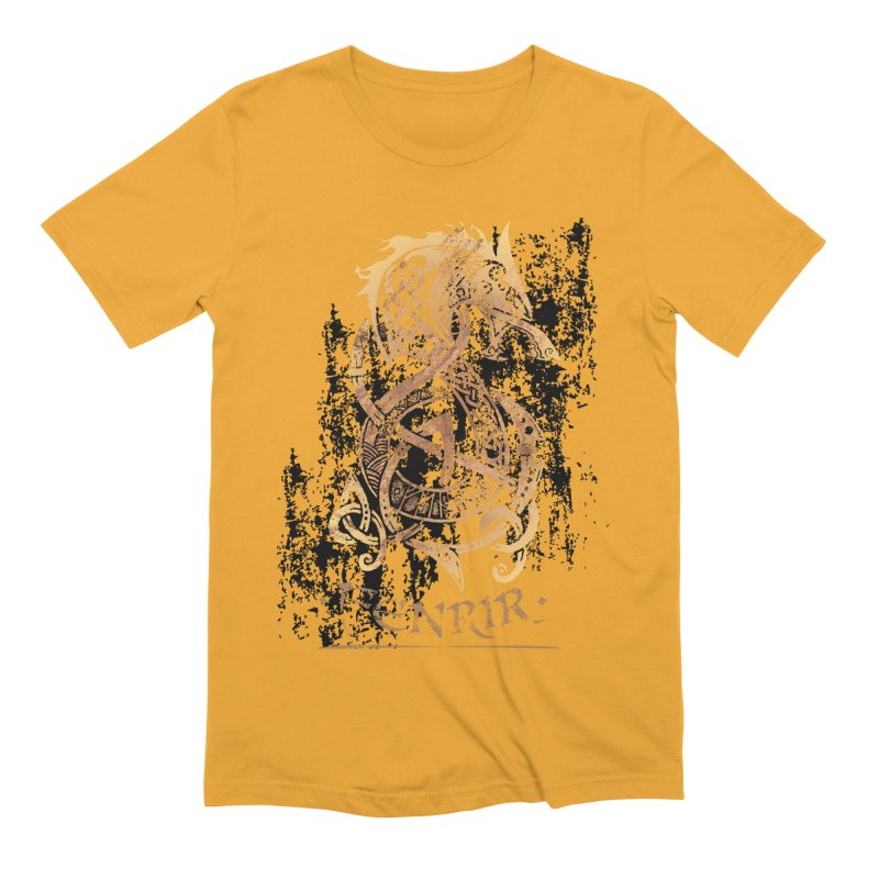 Gold Fenrir Wolf Men's Extra Soft T-Shirt by Celtic Hammer Club